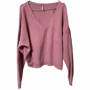 Free People Women's S Deep V Neck Slouchy Sweater